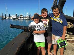 Claude Sellar, 8, Ethan Mayne, 10, and Saxon Petersen-Day, 10, did pretty well as pirate crew on board Notorious at Mackay Marina.
