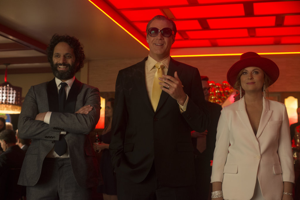 Jason Mantzoukas, Will Ferrell and Amy Poehler in a scene from the movie The House.