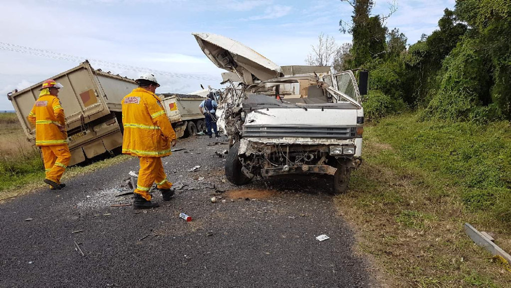 Rural Fire Service on scene at a crash at Coraki involving a Richmond Valley Council truck and a private vehicle.