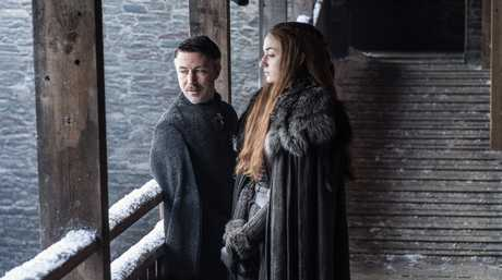 Aidan Gillen and Sophie Turner in a scene from season 7 of Game of Thrones.