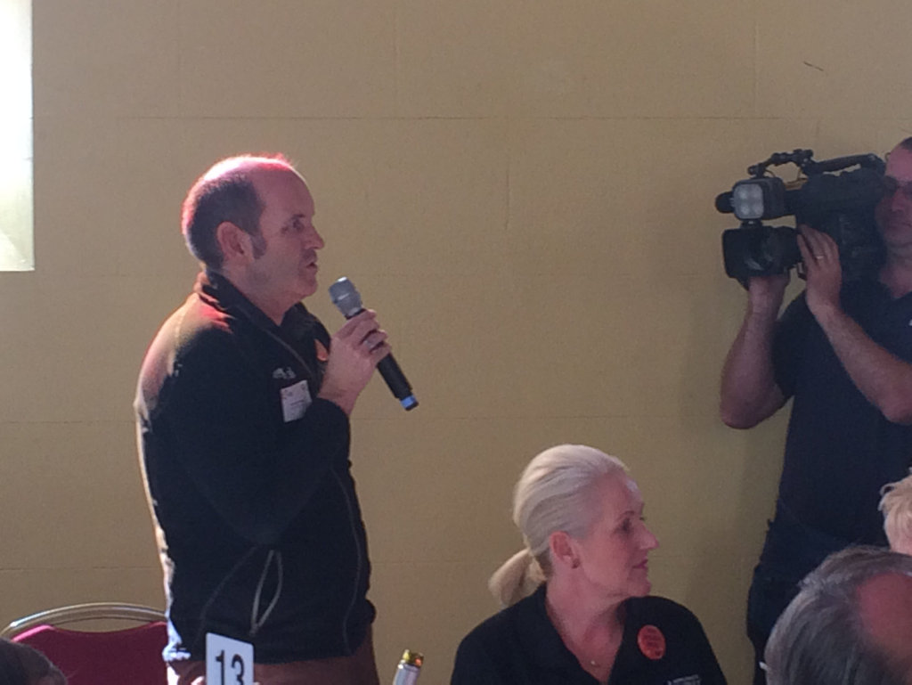 Oakey Chamber of Commerce president Andrew Langton makes an impassioned plea for Minister Lynham to consider the town when making his decision.