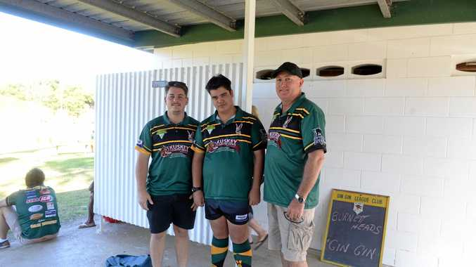 GOLDEN BOOTS: Gin Gin coach Benjamin Kuskey, Kail Horne and club president Mick McCotter ready for training.