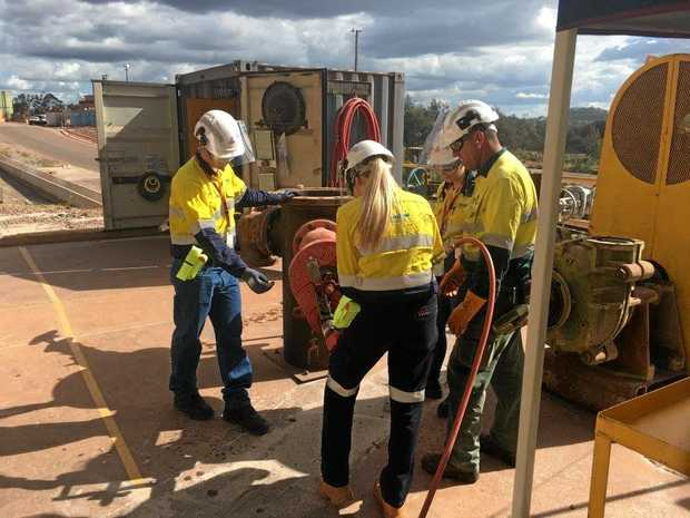 TRICKS OF THE TRADE: Queensland Alumina Limited's EQIP students learn how to use air tools on valves   at QAL.