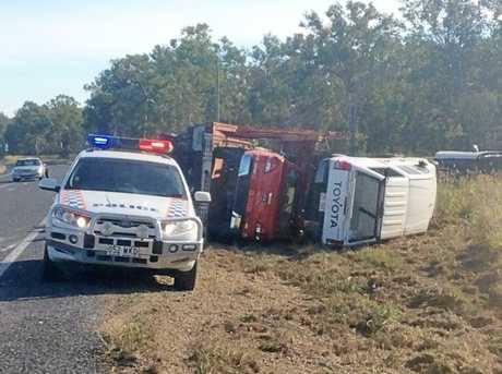Emergency crews remain on scene at Bruce Hwy South of St Lawrence.