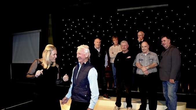 PARTY TIME: Toowoomba Hospital Foundation CEO Alison Kennedy ( left) and Col Zeller from Chapter III prepare for the third charity JB's Cabaret concert with (far back, from left) Don Duffus, Peter Case and Ray Moore, (middle row, from left) Bob Donovan, Bruce Elvery and Kerry Wright.