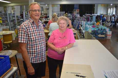 Neal Muller and Kath Plowman from Trinity Op Shop on Gordon St were shocked they were robbed.
