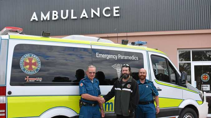 LUCKY SAVE: (from left) Dalby Ambulance paramedic Robert O'May, Dalby man John Morrin, and officer in charge at Dalby Ambulance Matthew Davenport reunited on Tuesday, six weeks after Mr Morrin's cardiac arrest.