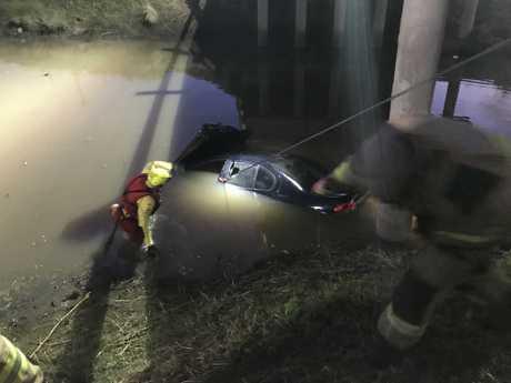 A car has plunged into Glengallan Creek near Warwick