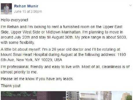 Rehan Munir's Facebook post on Gypsy Housing.