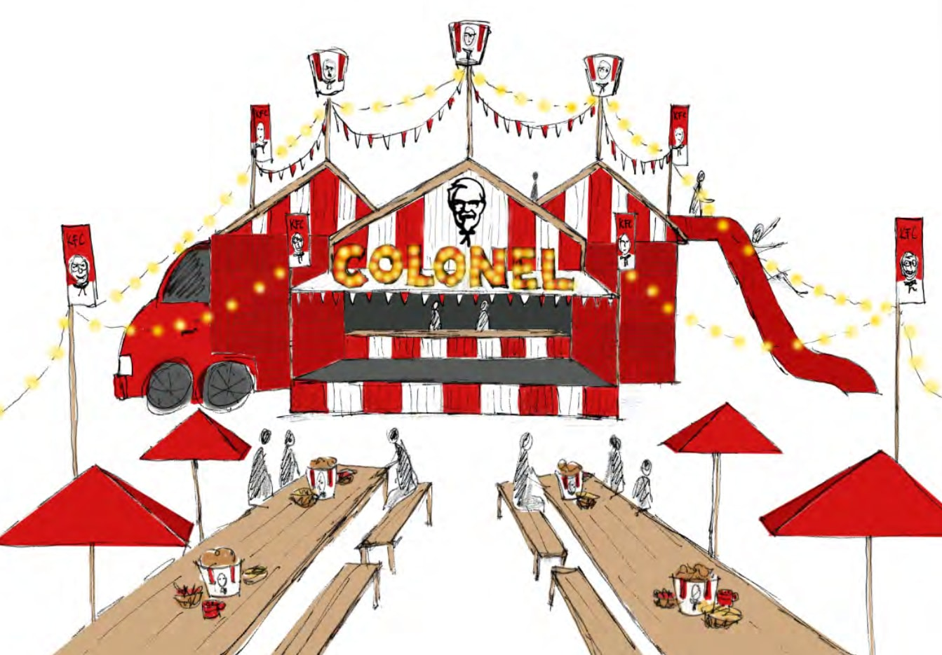 Artists impression of 'The Colonel's' camp which will debut at the Big Red Bash.