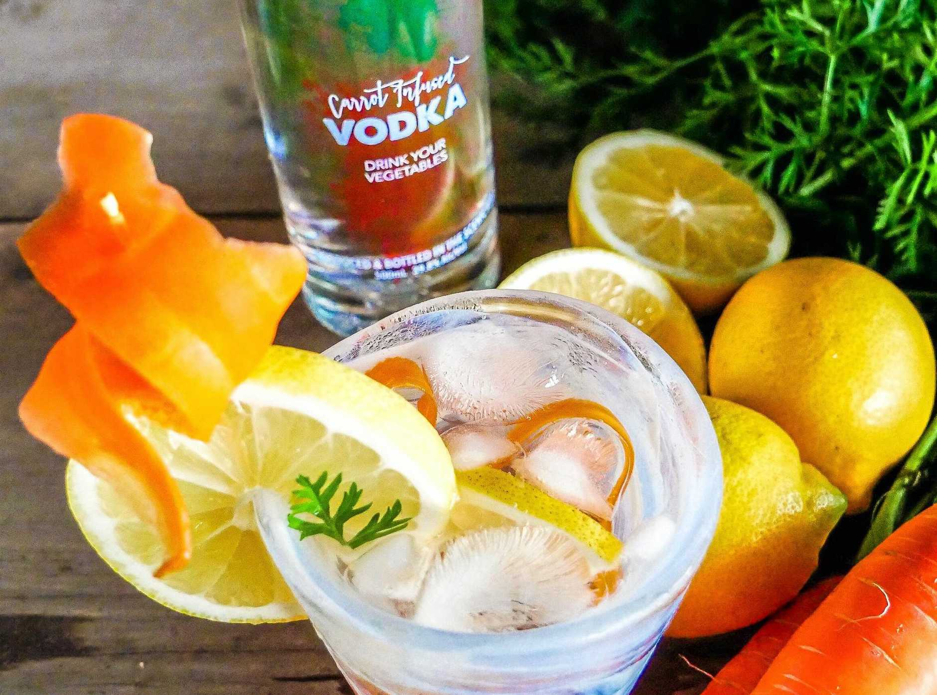 The carrot vodka can be used in a vodka soda or as the base of a Bloody Mary.