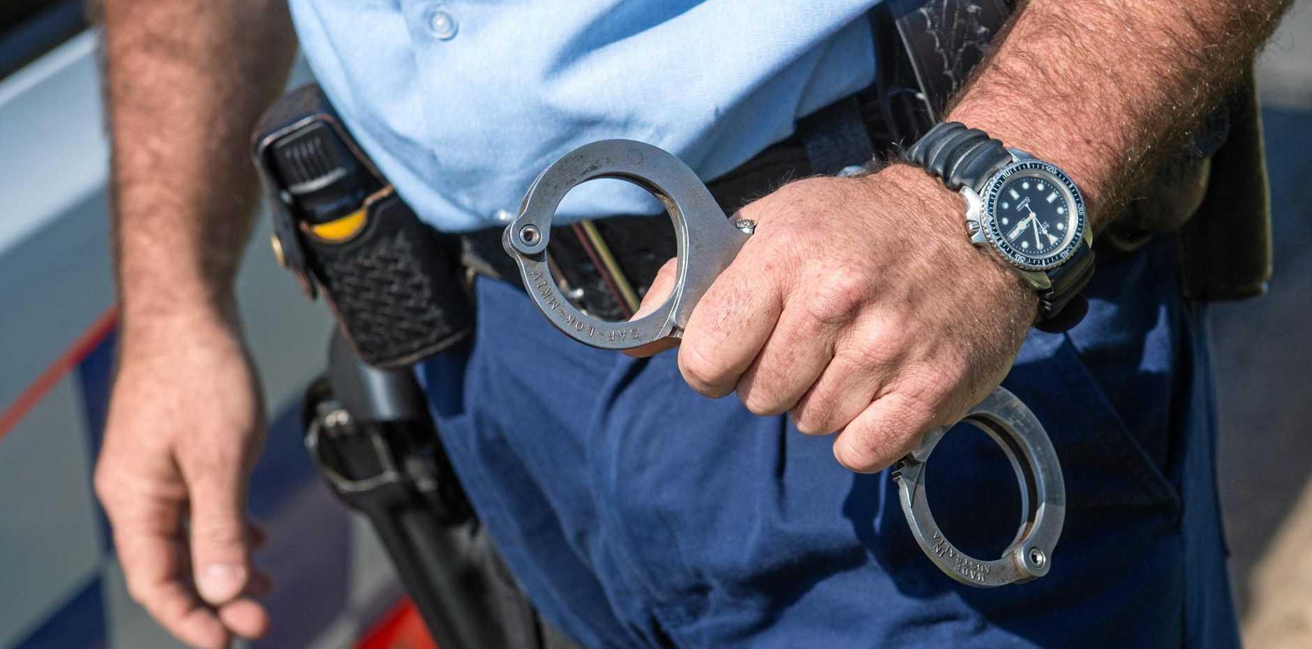 NSW police generic Handcuffs arrest. 07 October 2016