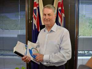 Mackay region Mayor Greg Williamson with the proposed 2017-18 budget he hopes is voted in today.