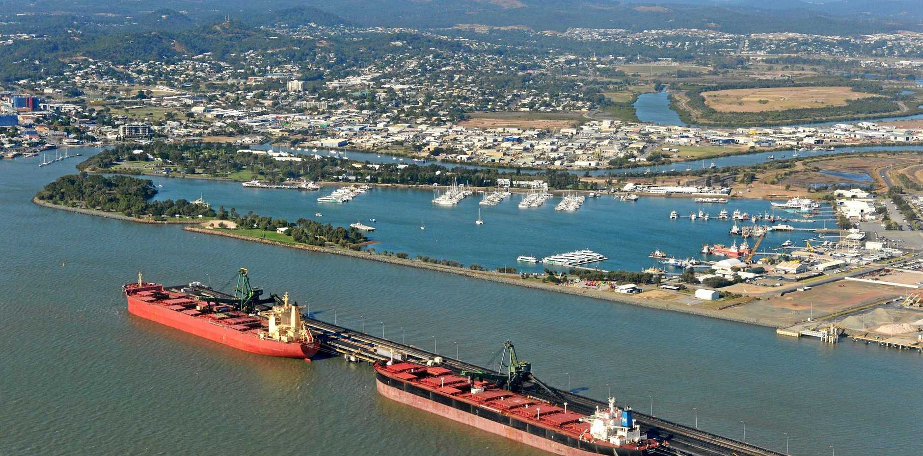 Aerial view of the Gladstone Harbour.Photo Brenda Strong / The Observer