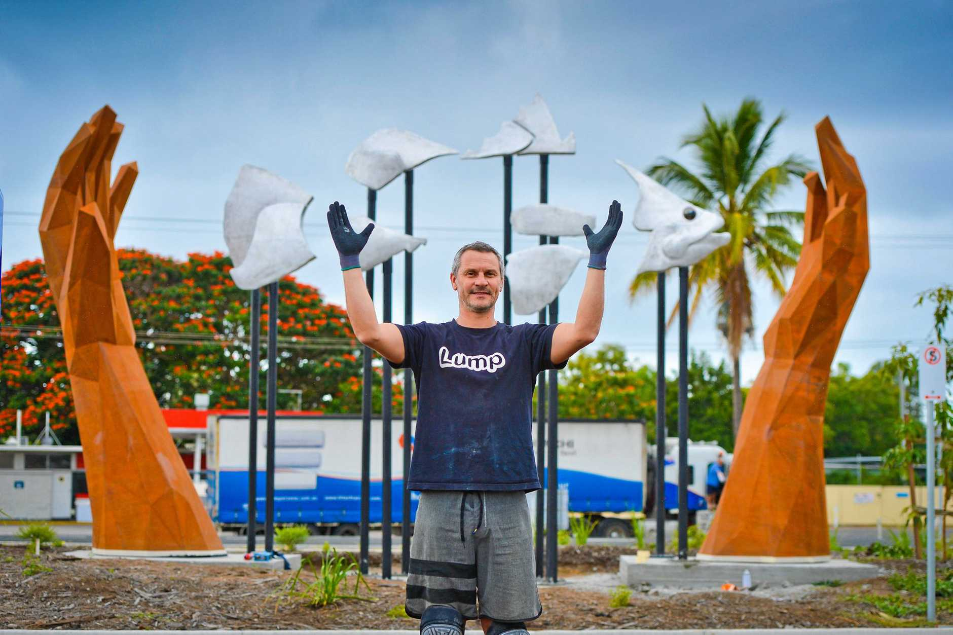IT WAS THIS BIG: Sculptor Chris Vassallo from Lump Sculpture has spent months working on the new installation in Benaraby.