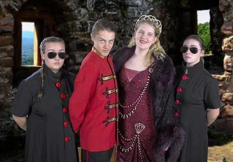 The villainous Vulgarians (from left) Boris the Spy (Michaela Francis), Baron Bomburst (Gabe Tiller), Baroness Bomburst (Annie Rose Paroz) and Goran the Spy (Isabel Lanigan).