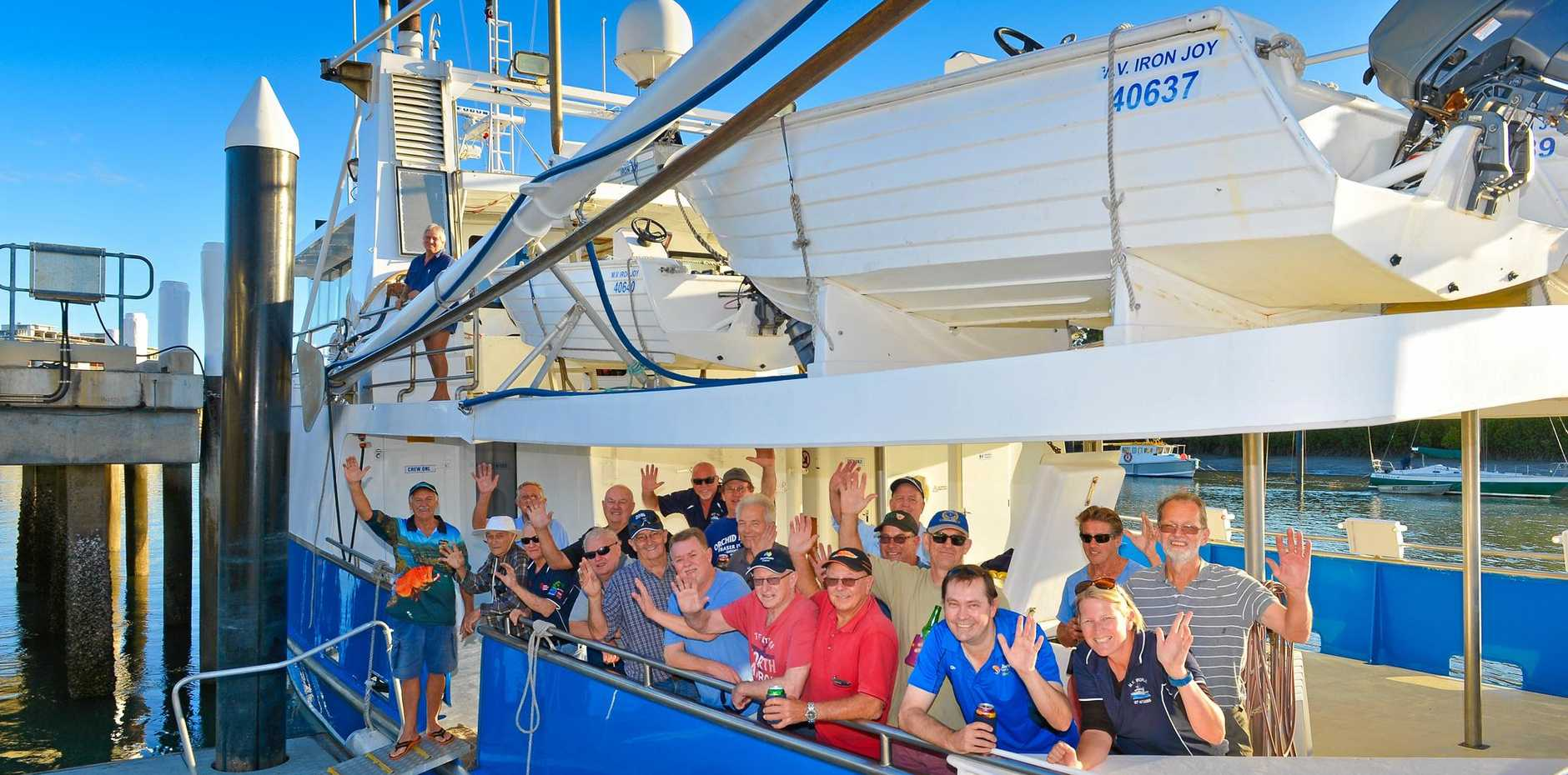 Charter business is helping the Gladstone economy. Businessmen from Brisbane about to depart on the M.V. Iron Joy.