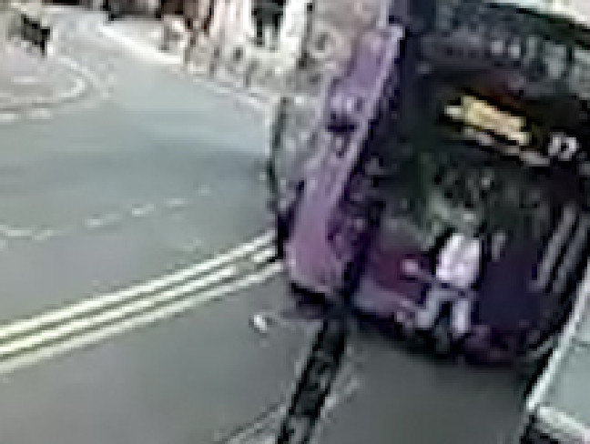 The bus strikes the man from behind. Picture: YouTube