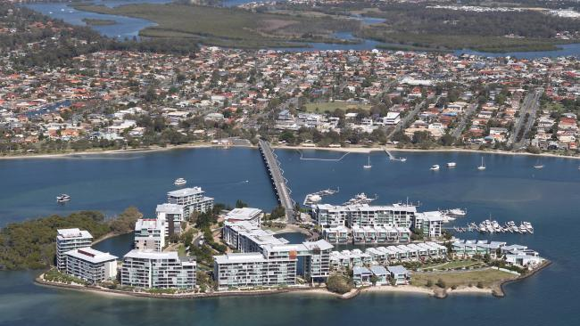 An aerial of Ephraim Island, Paradise Point. Picture: Mike Batterham