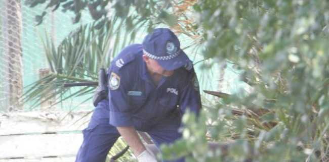 Lismore police at the site where Simone Strobel's body was found beneath palm fronds on the Continental Club bocce courts in February 2005. Picture: Mike BatterhamSource:News Limited