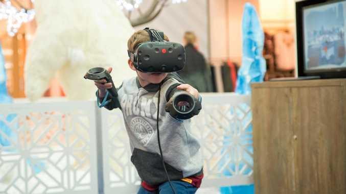 Caleb Webber having some fun using Snow Slingers Virtual Reality.