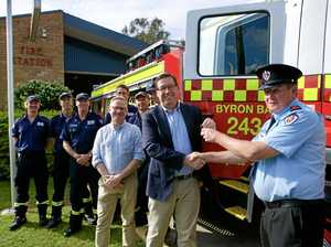 Minister for Emergency Services Troy Grant and Ben Franklin handing over keys of the new Byron Bay fire truck.
