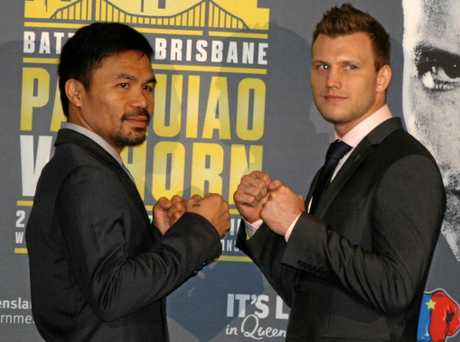 Legendary boxer Manny Pacquiao faces off with Brisbane boxer Jeff Horn at the media conference at Suncorp Stadium ahead of the Battle of Brisbane boxing bout between Manny Pacquiao and Jeff Horn in Brisbane on July 2. Wednesday, April 26, 2017