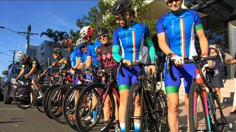 SOLIDARITY: Cyclists ride from Noosa to Maroochydore Court House for the sentencing of Stephen Small's killer.
