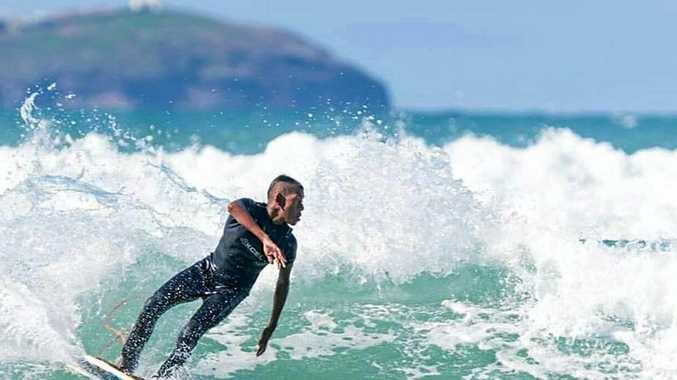 IN RESPECT: Brandon Mercy shreds it up ahead of the Naru Surf Gathering this weekend, a tribute to Eric Mercy who died 20 years ago.