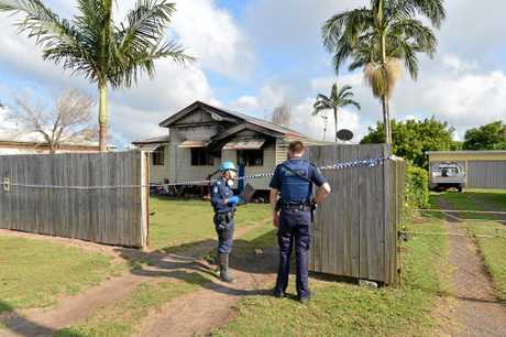 JAILED: Bundaberg Police investigate the scene after Matthew Tanner set fire to a house in Brand St, Walkervale.