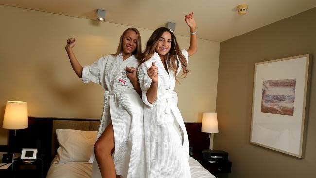 Miss Universe Australia finalists Monique Evren and Chelsey Nichols.
