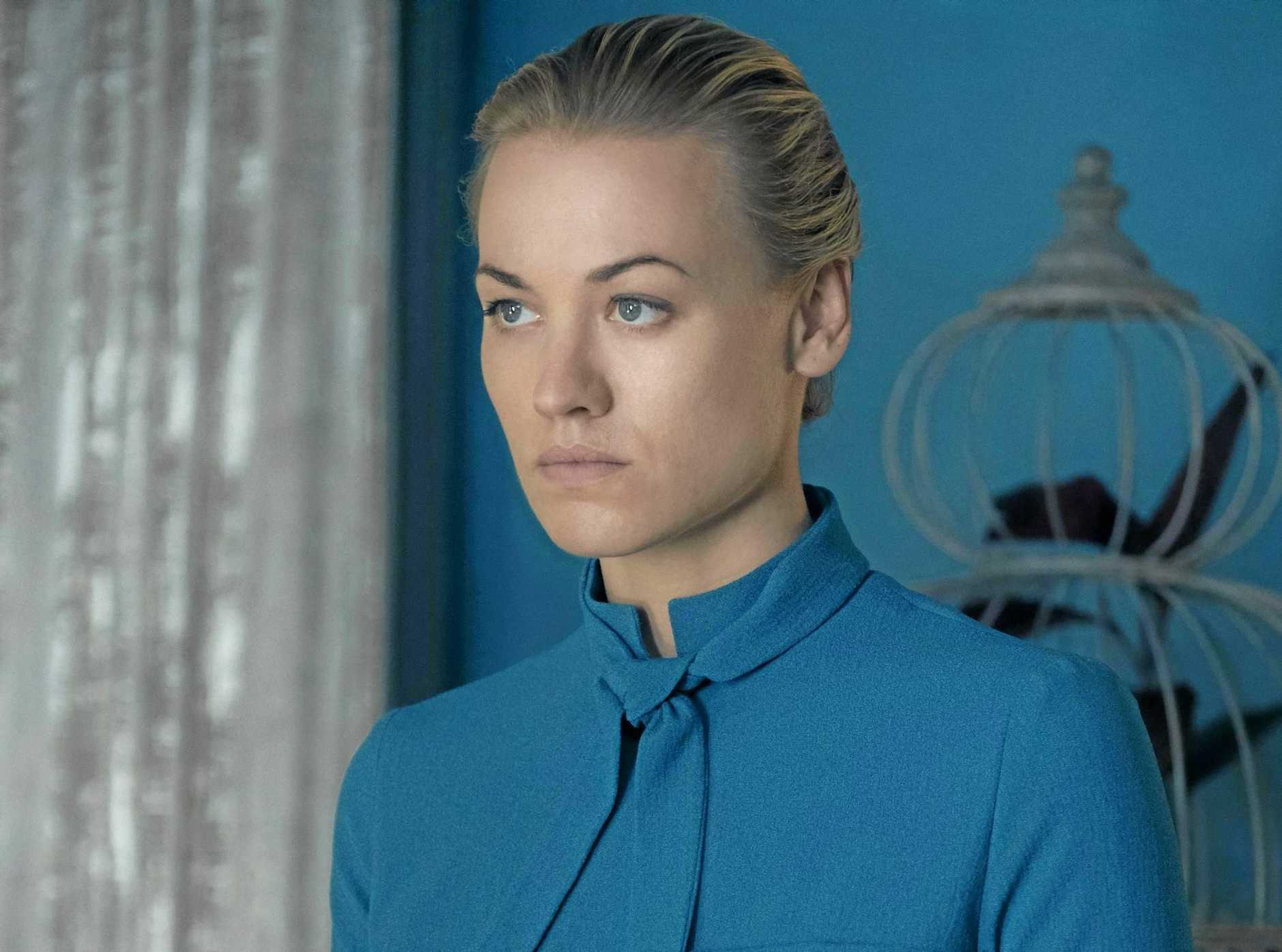 Yvonne Strahovski in a scene from the TV series The Handmaid's Tale. Supplied by SBS TV.