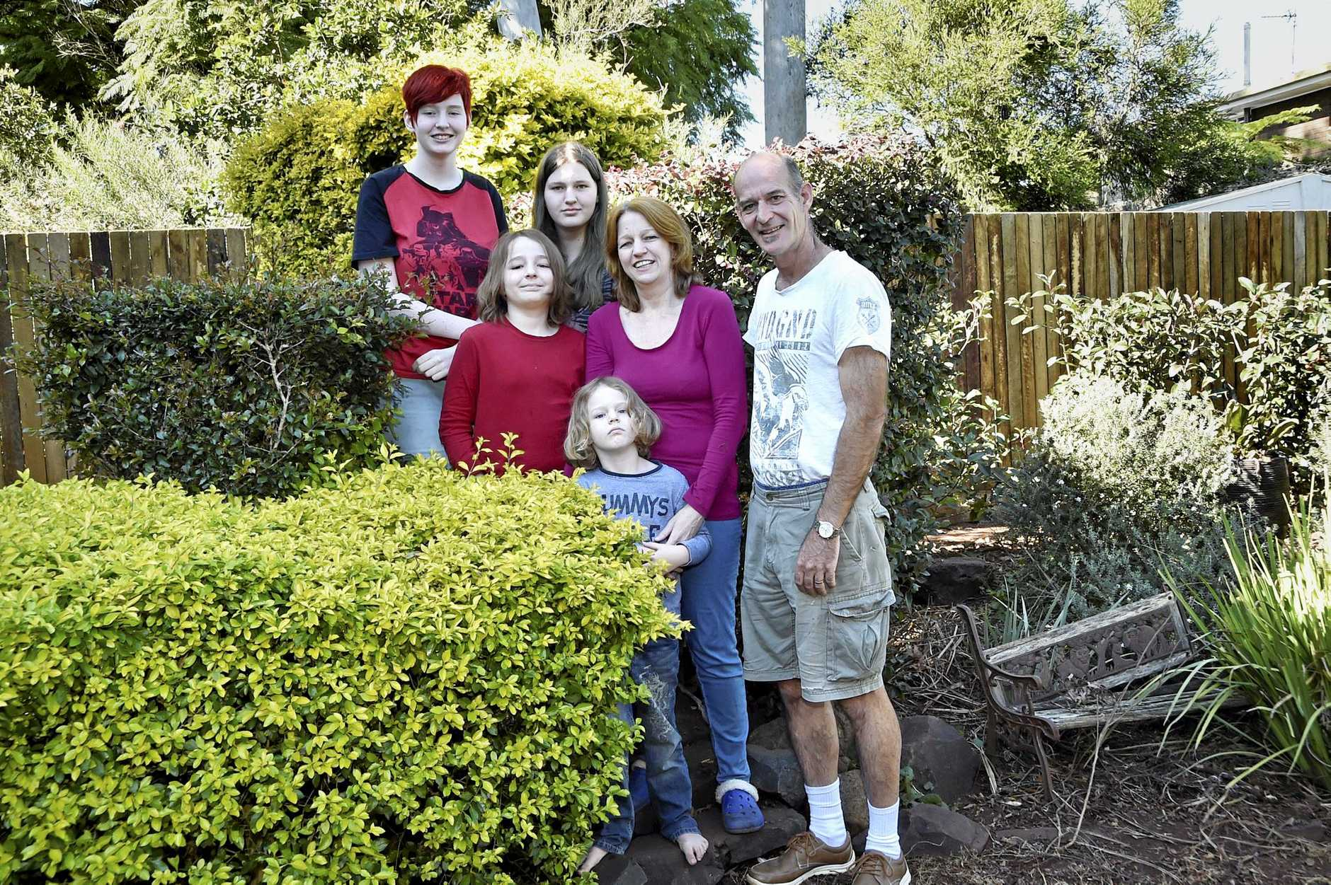 The Clark family are advocates of unschooling and home schooling nurturing each child as individuals. From back to front; Jemima, Millicent, William, Alexander, with parents -Rachael and George Clark. The oldest child, Jemima Clark, has recently graduated from a course at TAFE. June 2017