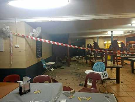 The inside of the damaged pub.