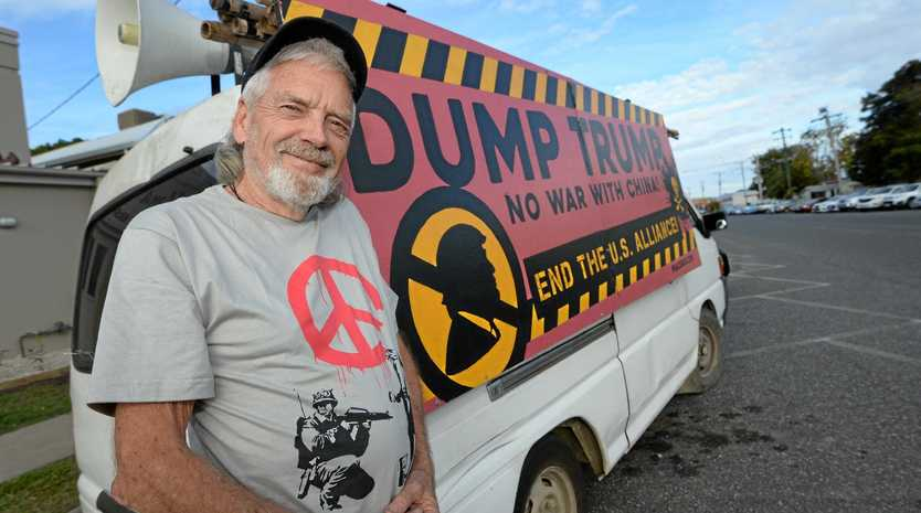 Peace protester Graeme Dunstan is back in Rockhampton to oppose Exercise Talisman Saber.
