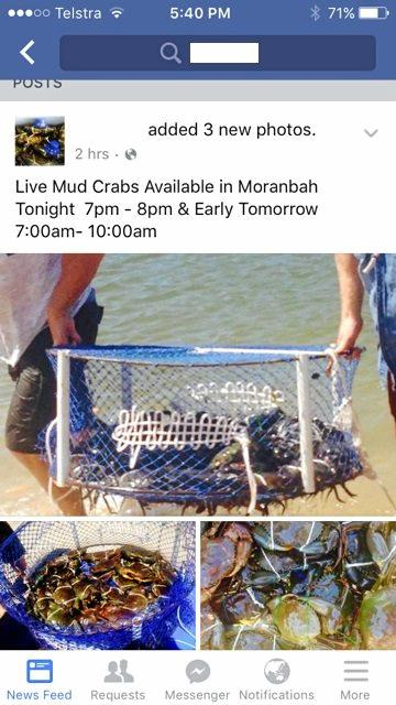 The Facebook post advertising seafood, which was noticed by the Department of Agriculture and Fisheries after a phone tip-off.