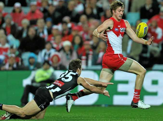 BACK FROM INJURY: Sydney Swans' Alex Johnson (right) plays his first competition game since the 2012 grand final.