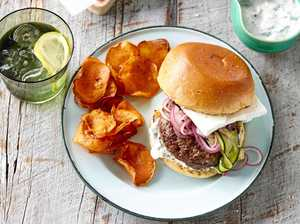 RECIPE: Lamb and feta burgers with sweet potato chips