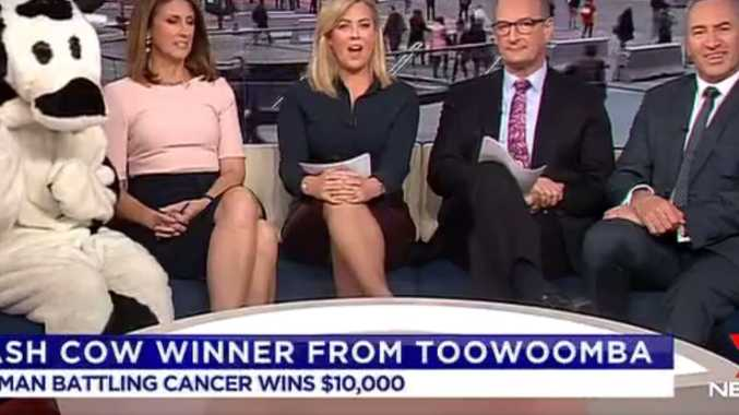 Sunrise team delivers good news to Toowoomba Cash Cow winner.