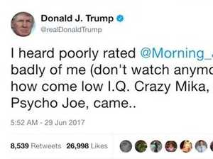 Trump attacks TV hosts on Twitter