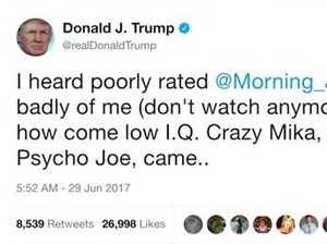 Trump attacks TV hosts on Twitter