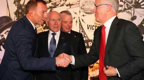 Former PM Tony Abbott, former PM John Howard and PM Malcolm Turnbull.