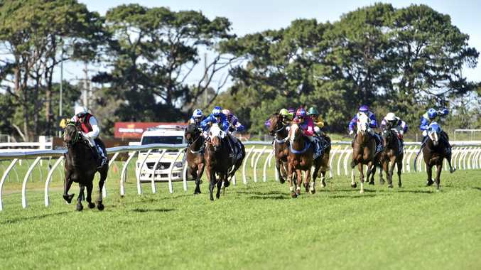 Mr Marbellouz and jockey Beau Appo heading for victory in today's Maiden Handicap at Clifford Park.