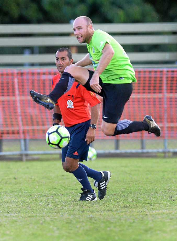 High drama: Ipswich Knights footballer Lucas Wilson scored a goal before receiving a controversial red card in his team's 2-1 win over Lions.