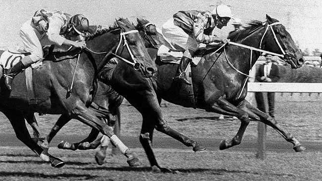 Red Handed winning the 1967 Melbourne Cup.