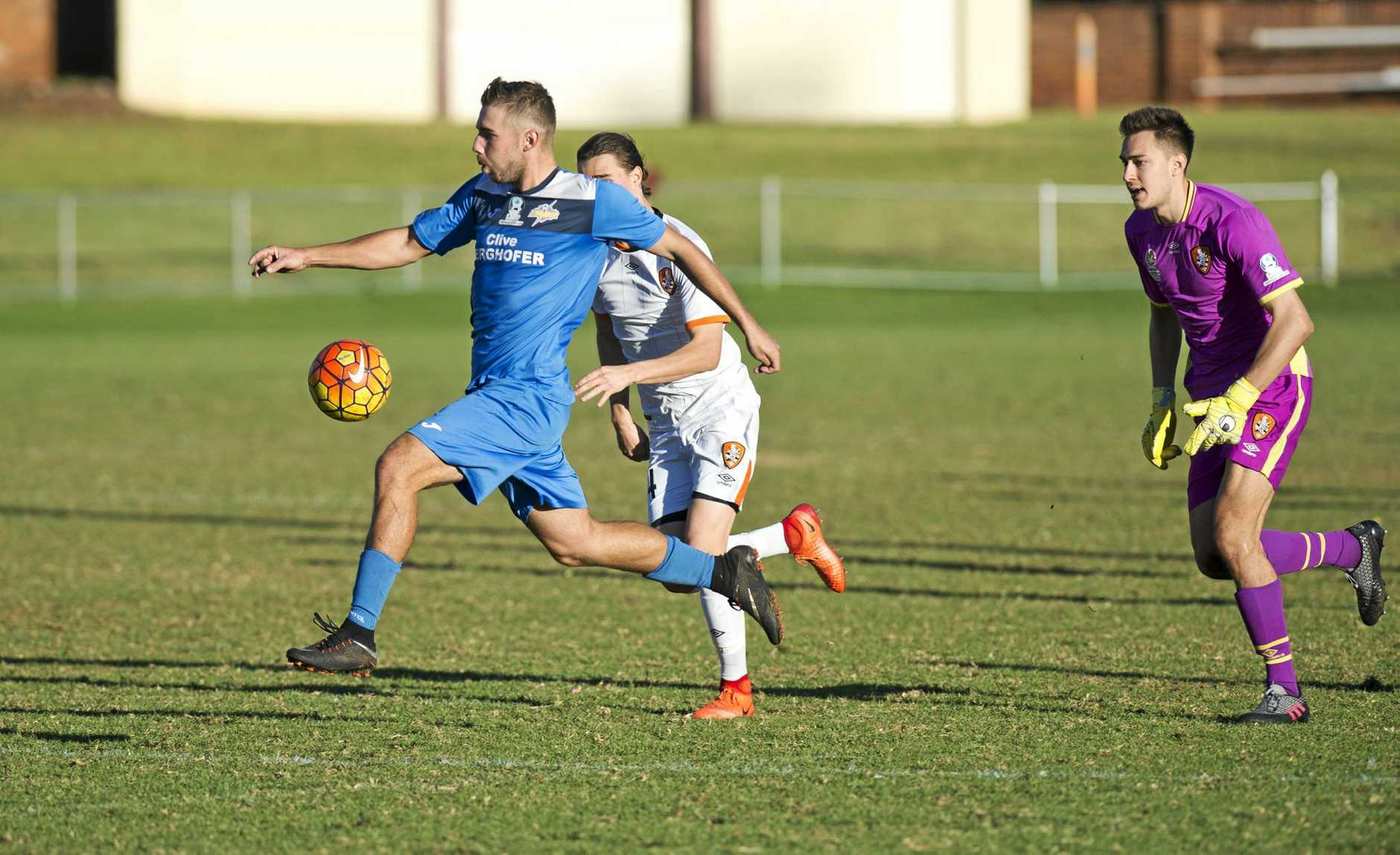 GOAL SCORER: Anthony Grant runs to an unmanned goal to score for the South-West Thunder against the Brisbane Roar Youth team at Clive Berghofer Stadium.