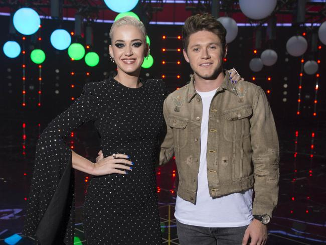 Katy Perry and Niall Horan Portrait on stage at the Voice.
