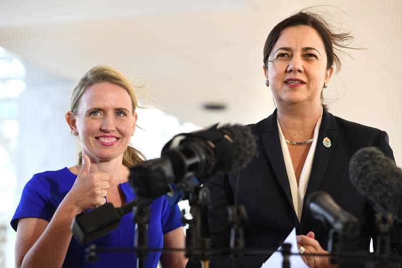 Major Events minister Kate Jones with Premier Annastacia Palaszczuk
