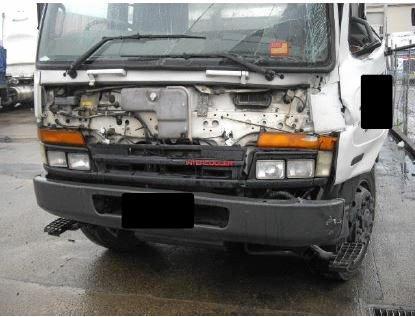 A Heavy vehicle damaged on impact