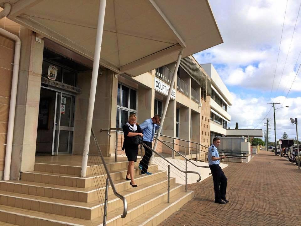 JAIL: Gavin Baldwin and Amanda Bornen outside Bundaberg Courthouse.
